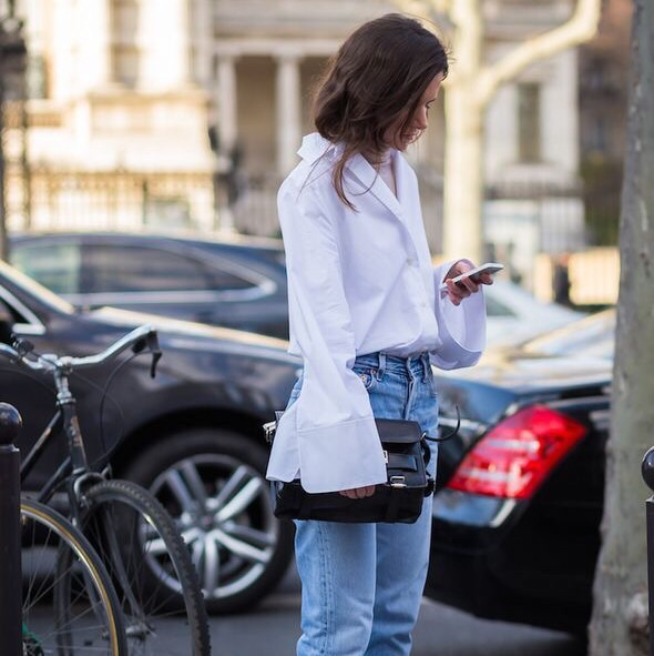 Add a crisp white shirt to your wardrobe for off duty glamour